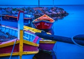 Nuit colorée sur la mer
