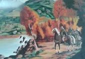cavaliers traversant la riviere