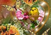 L'oiseau, les papillons, les fleurs.