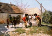 Hussards au puits-adrien Moreau