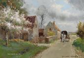 Charrette dans une ruelle du village