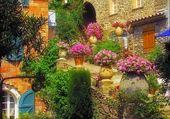 Quartier flleuri en provence