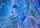 la femme en bleue