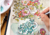 Originale aquarelle bouquets de fleurs