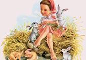 La petite fille et les lapins