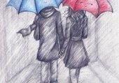 parapluie rouge, parapluie bleu