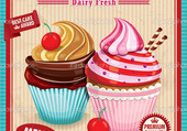 Affiche vintage cupcake