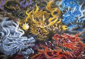 5 dragons asiatiques colorés