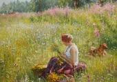 Jeune-fille au milieu des fleurs