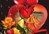 Beau montage, roses et coeur