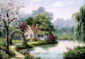 maison bord du lac