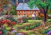 chevaux dans le jardin