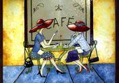 Causette devant un café