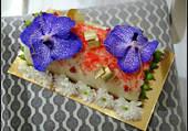 Buche avec fleurs