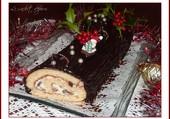 Bûche aux 2 chocolats, rhum et raisins