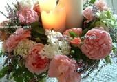 Composition florale illuminée