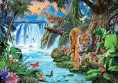 Puzzle Tigres sauvages et belle cascade d'eau