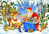 Père Noël en forêt
