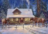 Puzzle Cabane en hiver