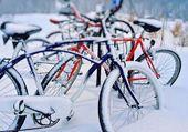 Vélos surpris par la neige.