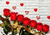 Roses sur des notes de musique