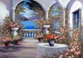 jolie terrasse fleuri