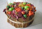 Composition fruits et fleurs sechées