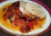 Rôti de dinde chorizo et légumes. en HD