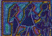 trois personnages, effet tapisserie