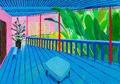 Jardin à la terrasse bleue