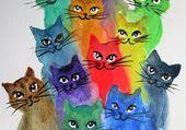 petits chats colorés en peinture