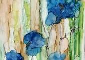 beau dessin de fleurs bleues