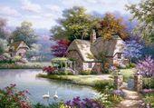 joli paysage fleuri