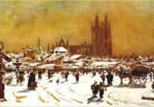 Le marché sous la neige st Hilaire du Ha
