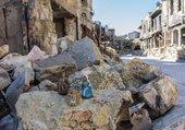La Sainte famille dans les ruines d'Alep