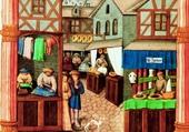 Moyen-Âge, une paisible rue marchande