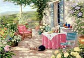 Puzzle Terrasse fleurie