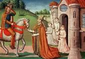 Charlemagne rencontre le Pape Adrien 1er