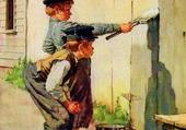 Puzzle deux garçons peignant un mur
