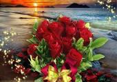 Bouquet de roses sur fond de mer