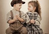 Retro garçon et fille