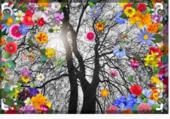 Arbre d'hiver et fleurs de printemps