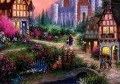 Puzzle joli village fleurie