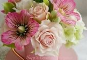 Puzzle bouquet de fleurs roses