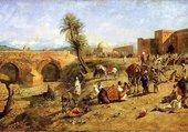 Caravane à l'entrée d'une ville du Maroc