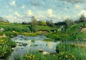 vaches paissant, P.M. Monsted