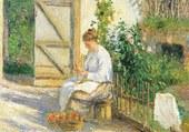 Julie Pissarro épluchant les légumes