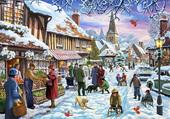 Puzzle village sous la neige