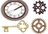 Puzzle Clé engrenage et horloge
