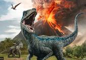Puzzle Blue le dinosaure et le volcan